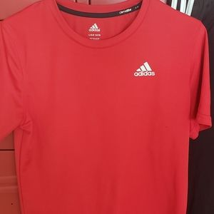 Boys Red Adidas Climalite SS Athletic Top